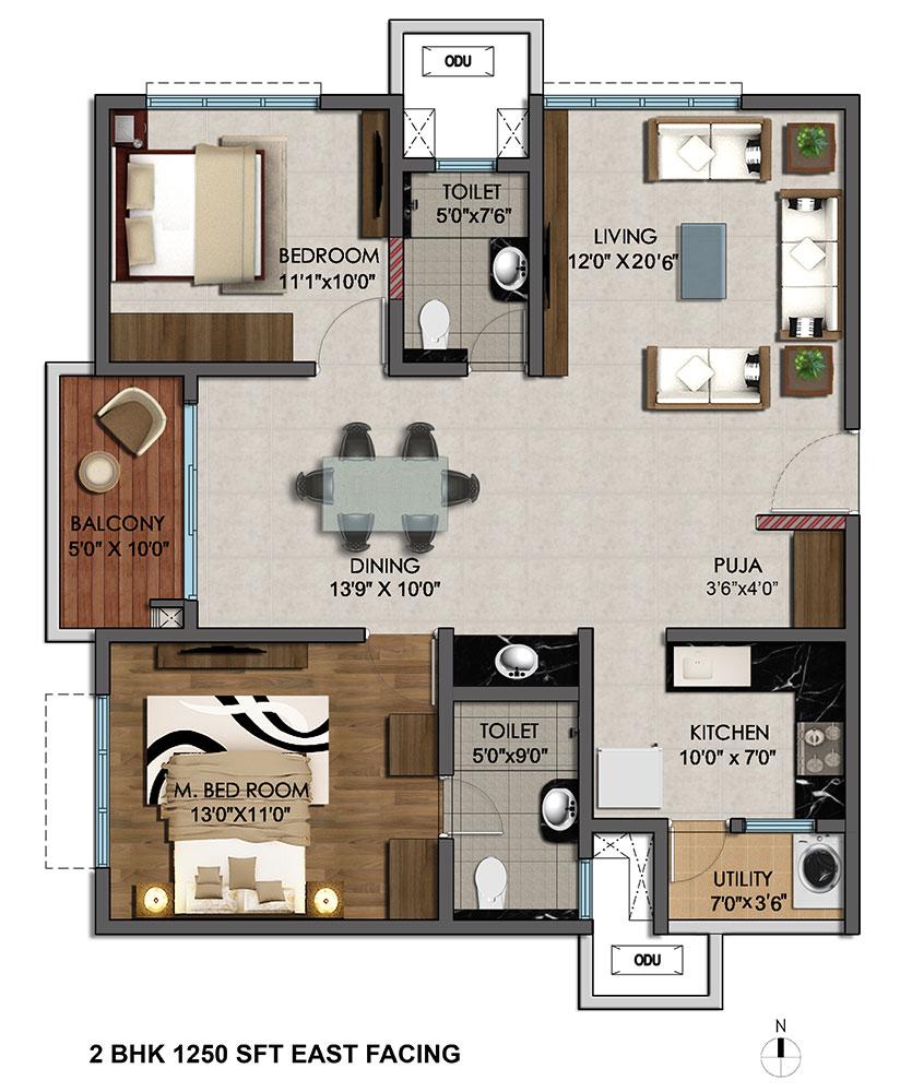 Kerala Home Design 2bhk: Marina Skies