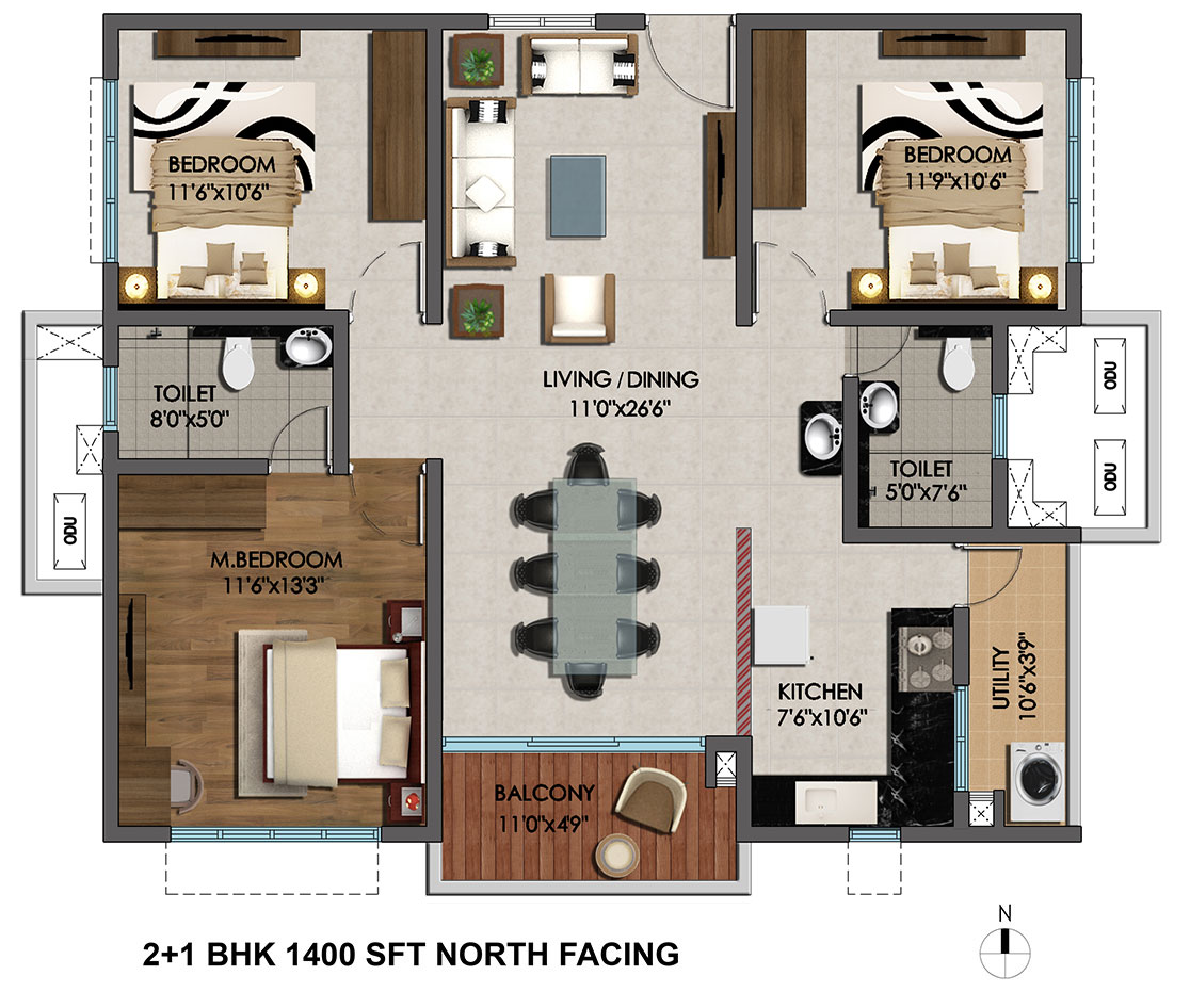 100 north facing floor plans east facing 3 bedroom for Plan of 3bhk house